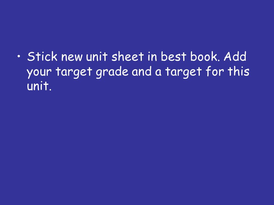 Stick new unit sheet in best book