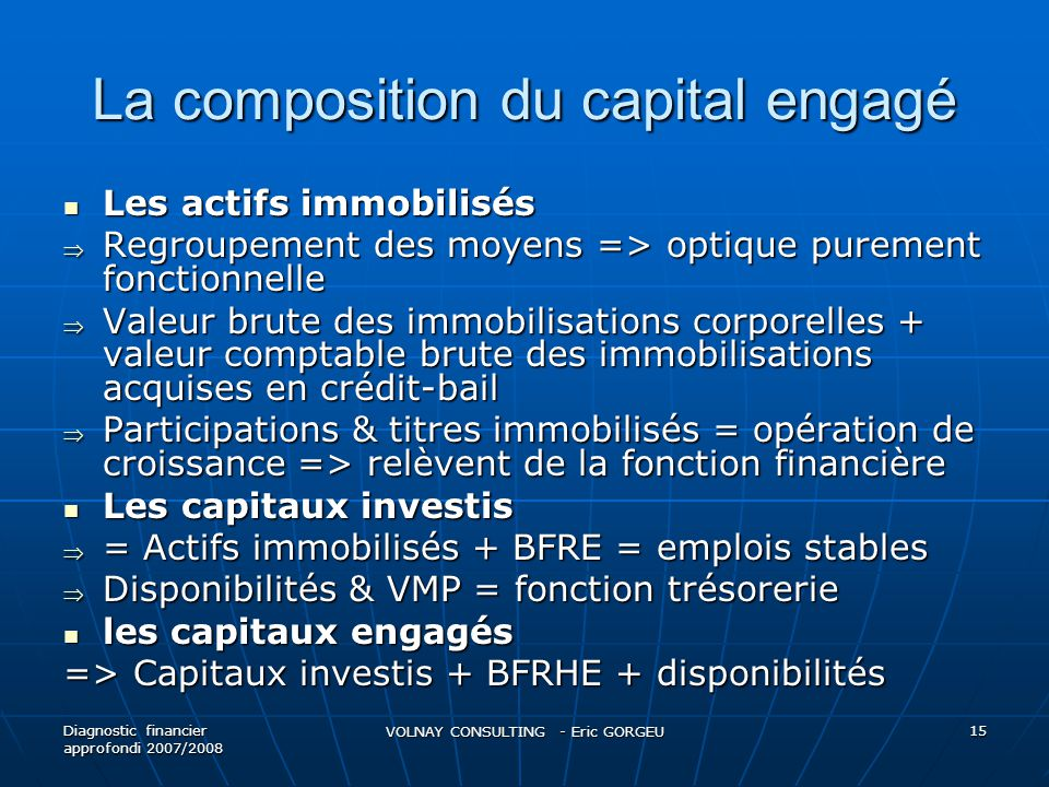 La composition du capital engagé