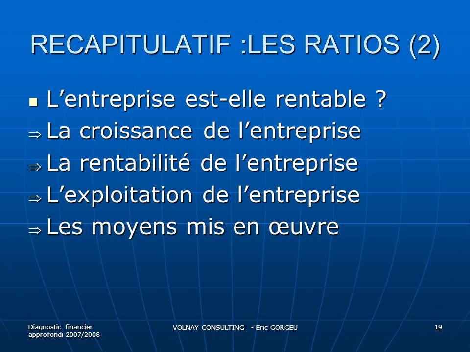 RECAPITULATIF :LES RATIOS (2)