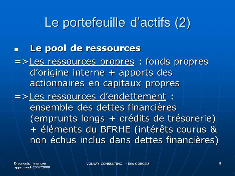 Le portefeuille d'actifs (2)