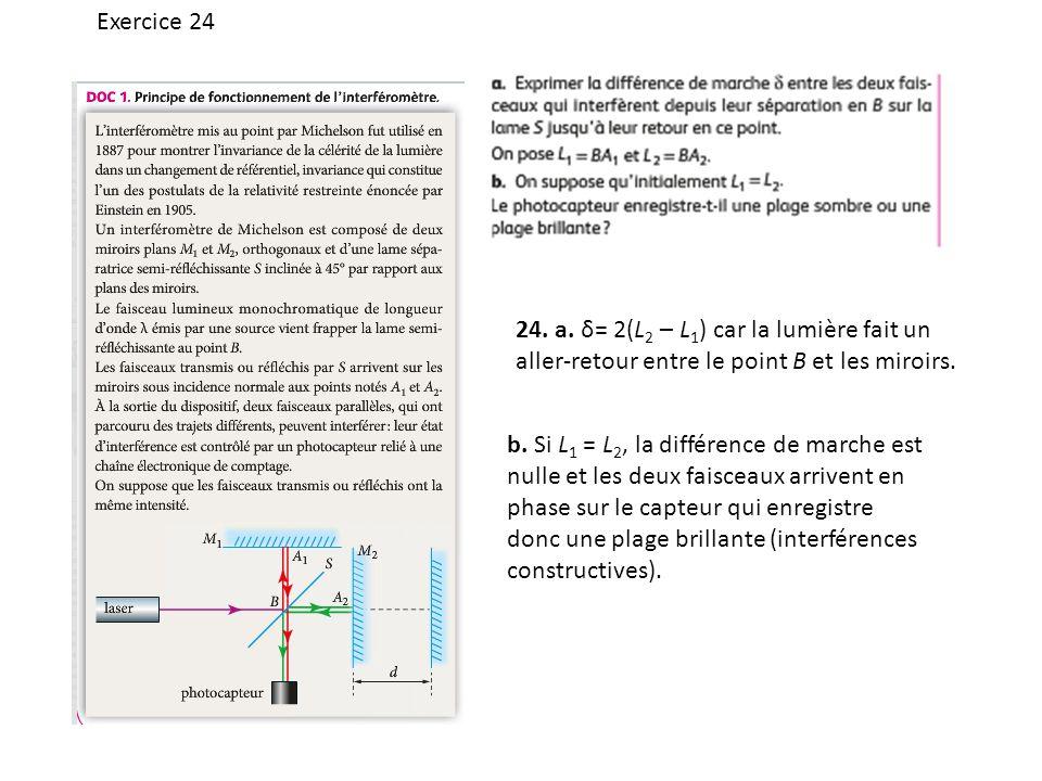 Exercice 24 24. a. δ= 2(L2 – L1) car la lumière fait un aller-retour entre le point B et les miroirs.