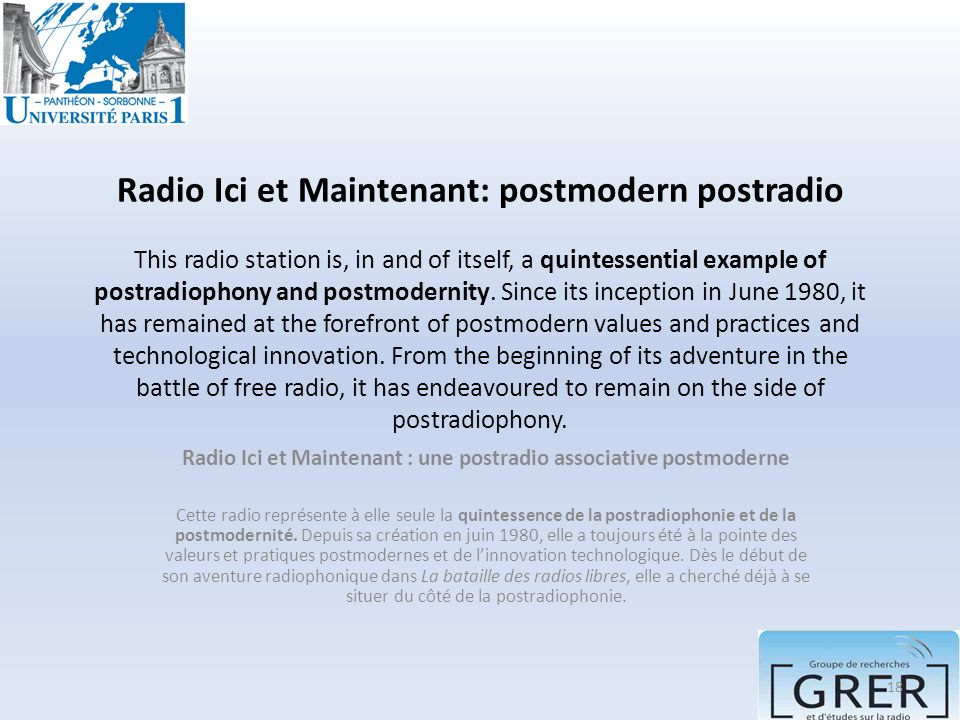 Radio Ici et Maintenant : une postradio associative postmoderne