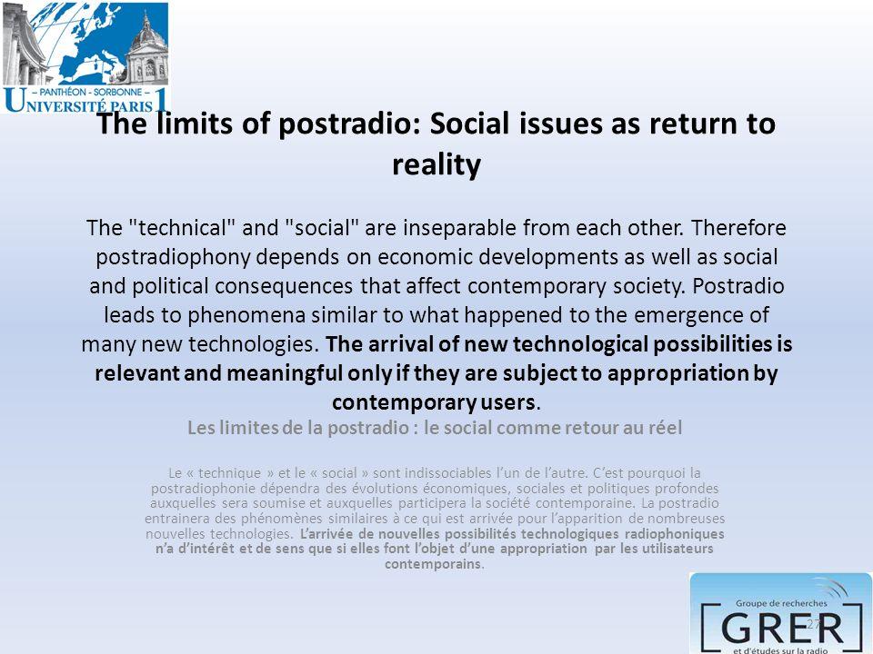 Les limites de la postradio : le social comme retour au réel