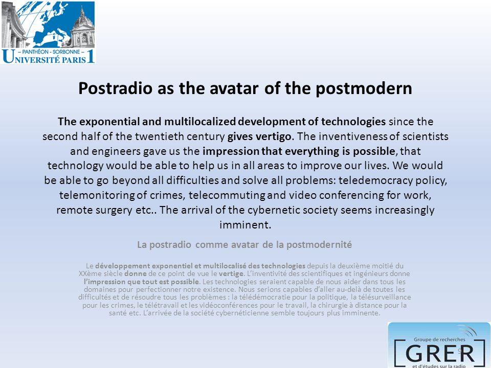 La postradio comme avatar de la postmodernité