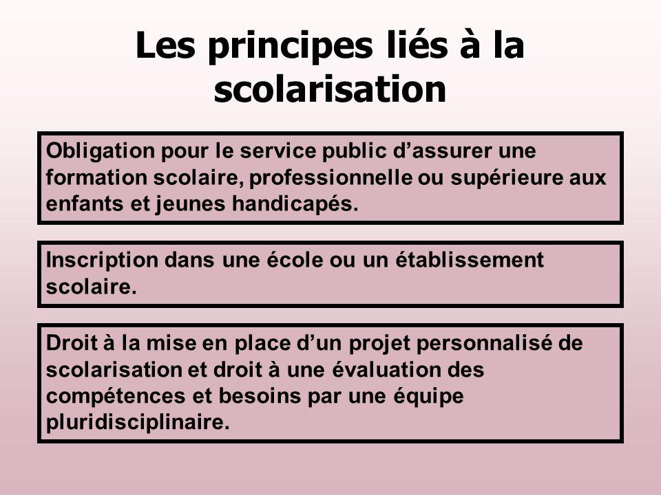 Les principes liés à la scolarisation