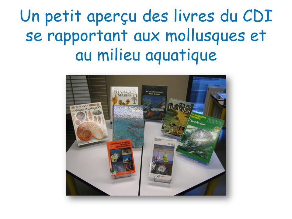 Un petit aperçu des livres du CDI se rapportant aux mollusques et au milieu aquatique