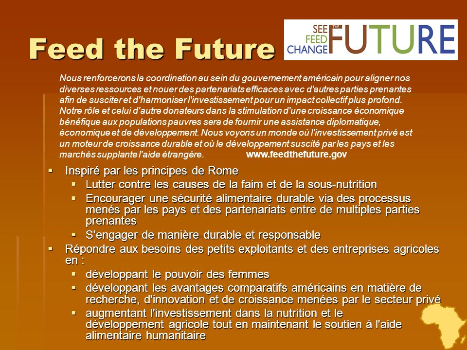 Feed the Future Inspiré par les principes de Rome