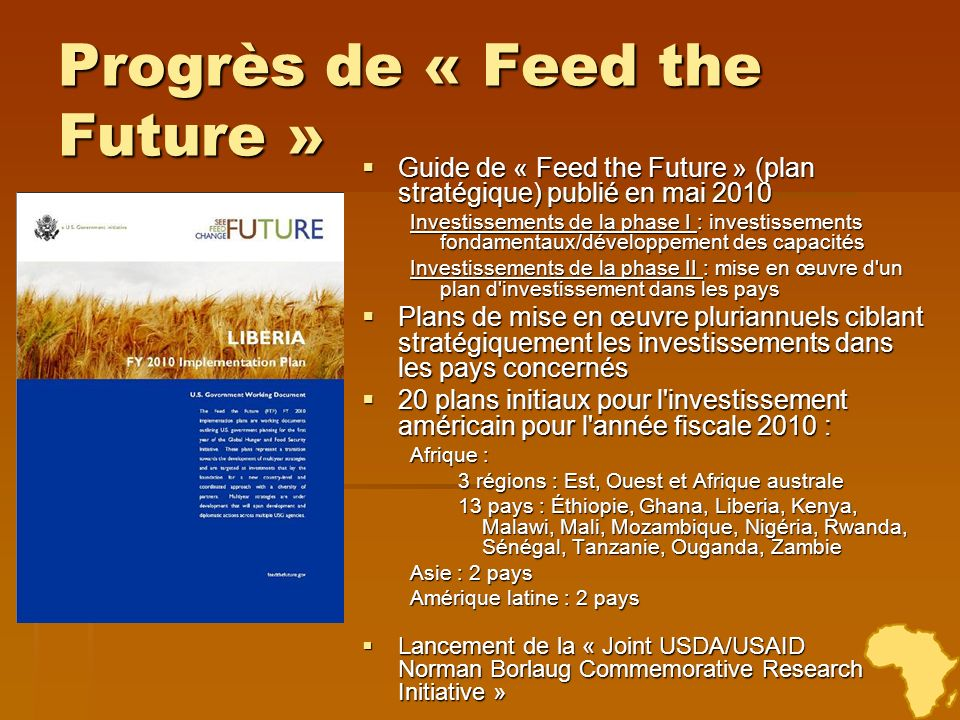Progrès de « Feed the Future »