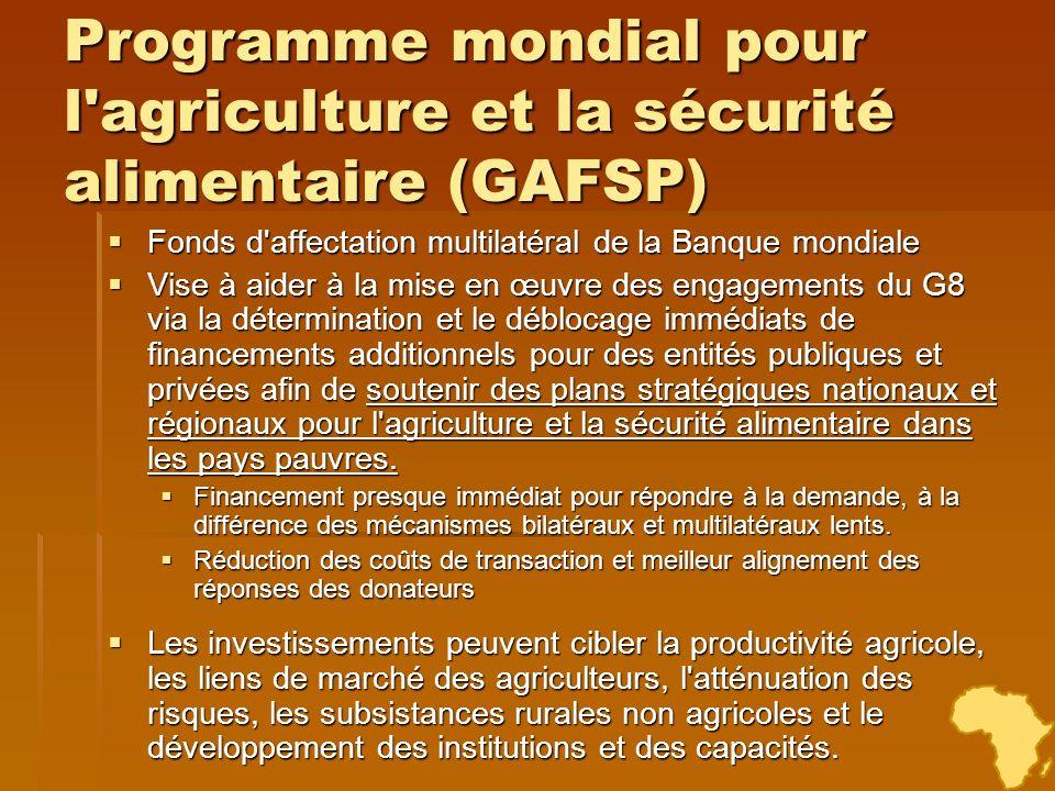 Programme mondial pour l agriculture et la sécurité alimentaire (GAFSP)