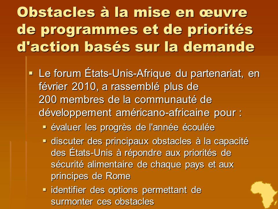 Obstacles à la mise en œuvre de programmes et de priorités d action basés sur la demande