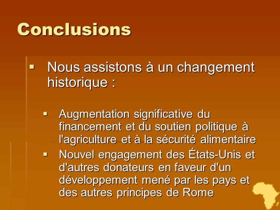 Conclusions Nous assistons à un changement historique :