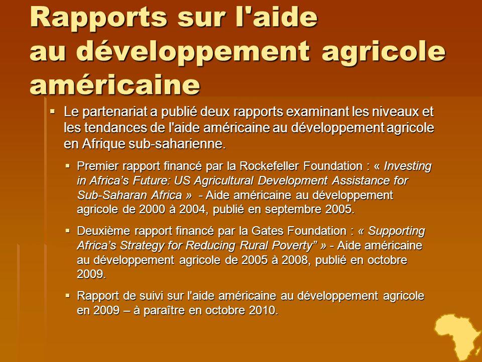 Rapports sur l aide au développement agricole américaine