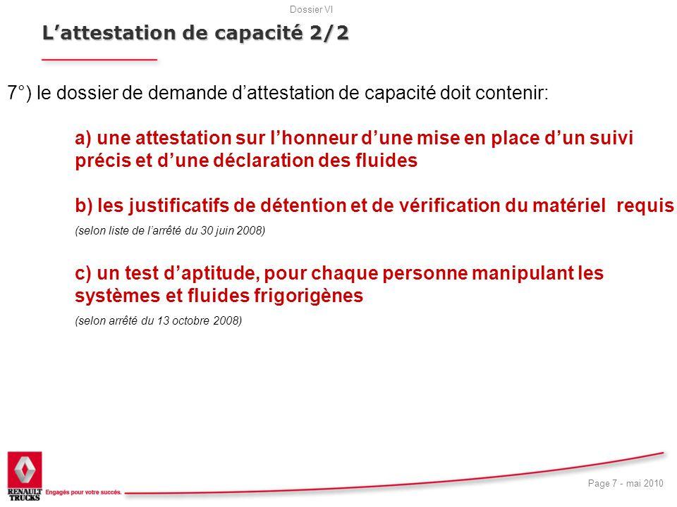 18 L'attestation de capacité 2/2