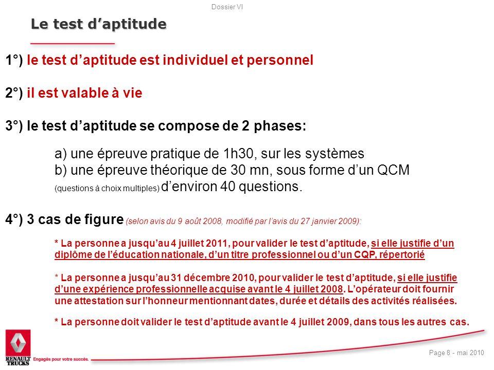 Le test d'aptitude19. 1°) le test d'aptitude est individuel et personnel. 2°) il est valable à vie.