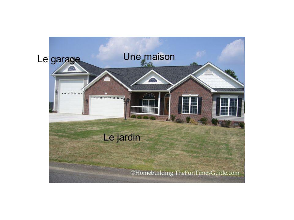Une maison Le garage Le jardin