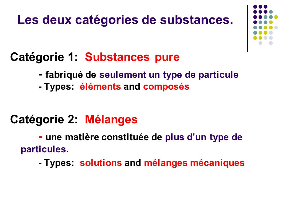Les deux catégories de substances.