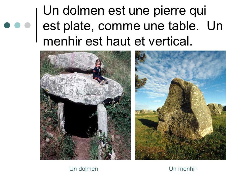 Un dolmen est une pierre qui est plate, comme une table