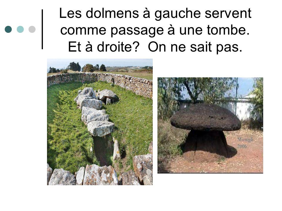 Les dolmens à gauche servent comme passage à une tombe. Et à droite