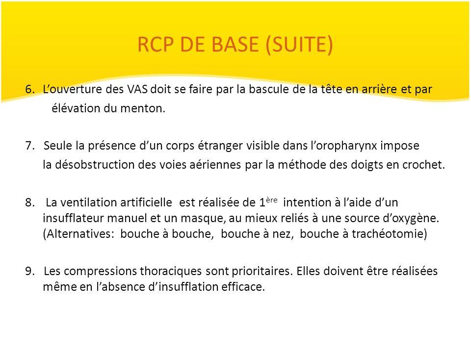 RCP DE BASE (SUITE)L'ouverture des VAS doit se faire par la bascule de la tête en arrière et par. élévation du menton.