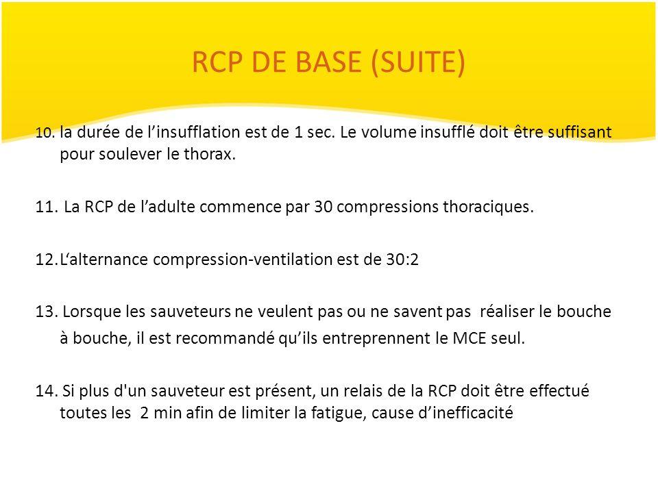 RCP DE BASE (SUITE)10. la durée de l'insufflation est de 1 sec. Le volume insufflé doit être suffisant pour soulever le thorax.