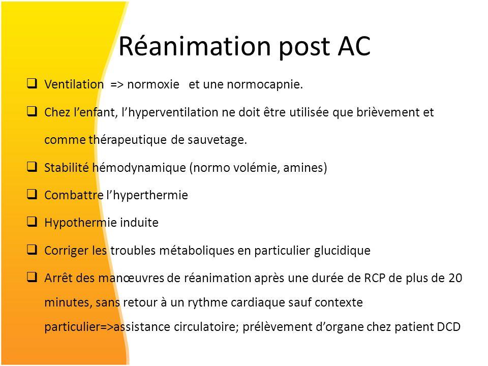Réanimation post AC Ventilation => normoxie et une normocapnie.