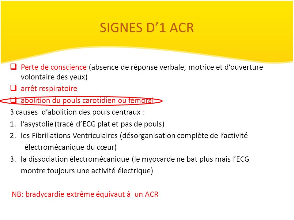 SIGNES D'1 ACR Perte de conscience (absence de réponse verbale, motrice et d'ouverture volontaire des yeux)