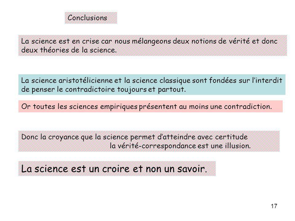 La science est un croire et non un savoir.