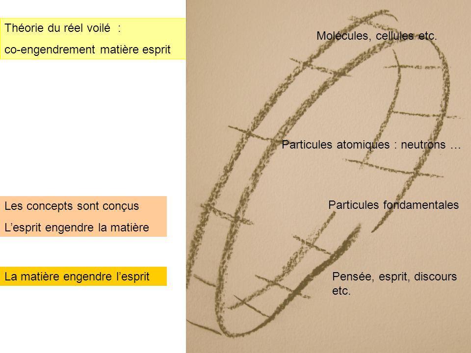 Théorie du réel voilé : co-engendrement matière esprit. Molécules, cellules etc. Particules atomiques : neutrons …