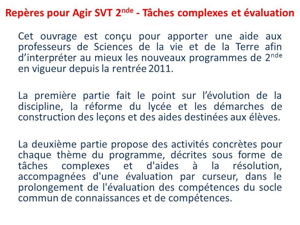 Repères pour Agir SVT 2nde - Tâches complexes et évaluation