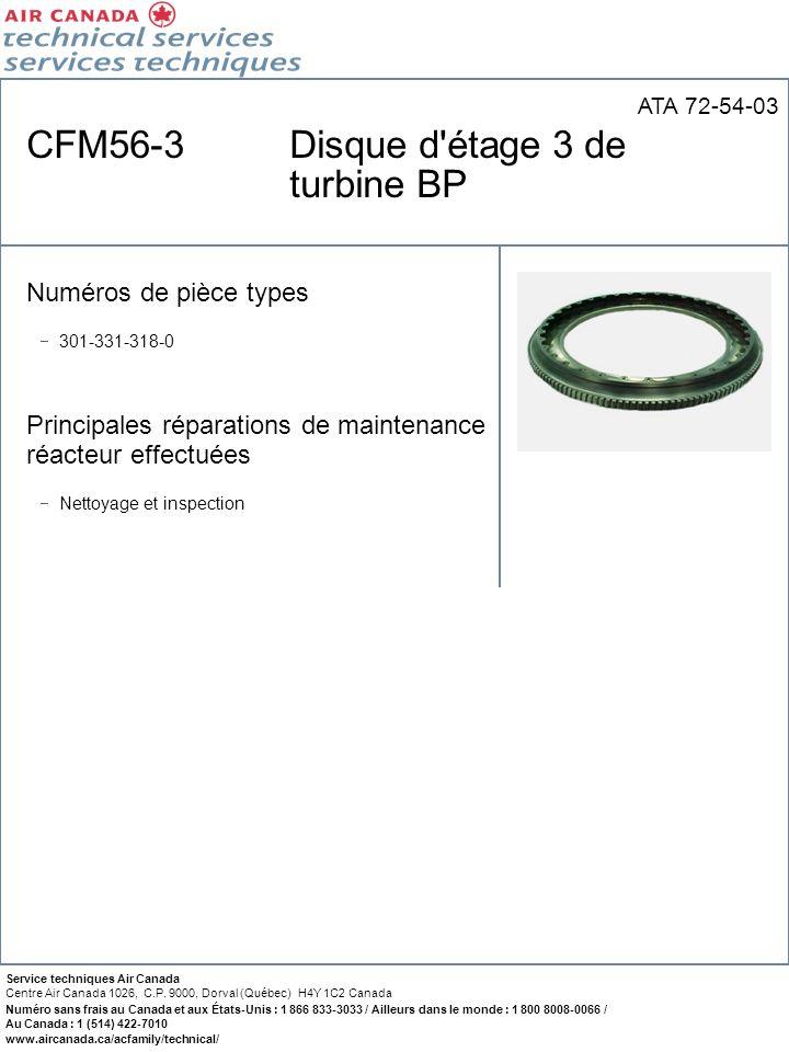 CFM56-3 Disque d étage 3 de turbine BP