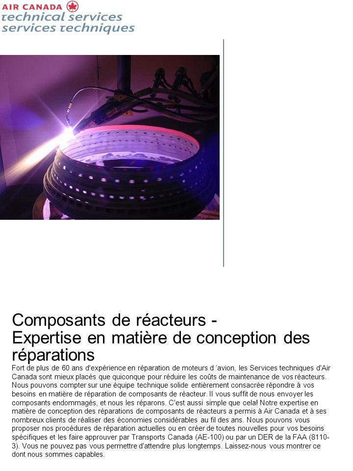 Composants de réacteurs - Expertise en matière de conception des réparations