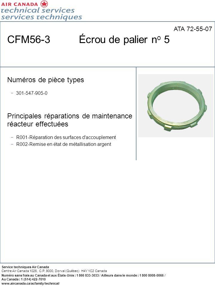 CFM56-3 Écrou de palier no 5 Numéros de pièce types