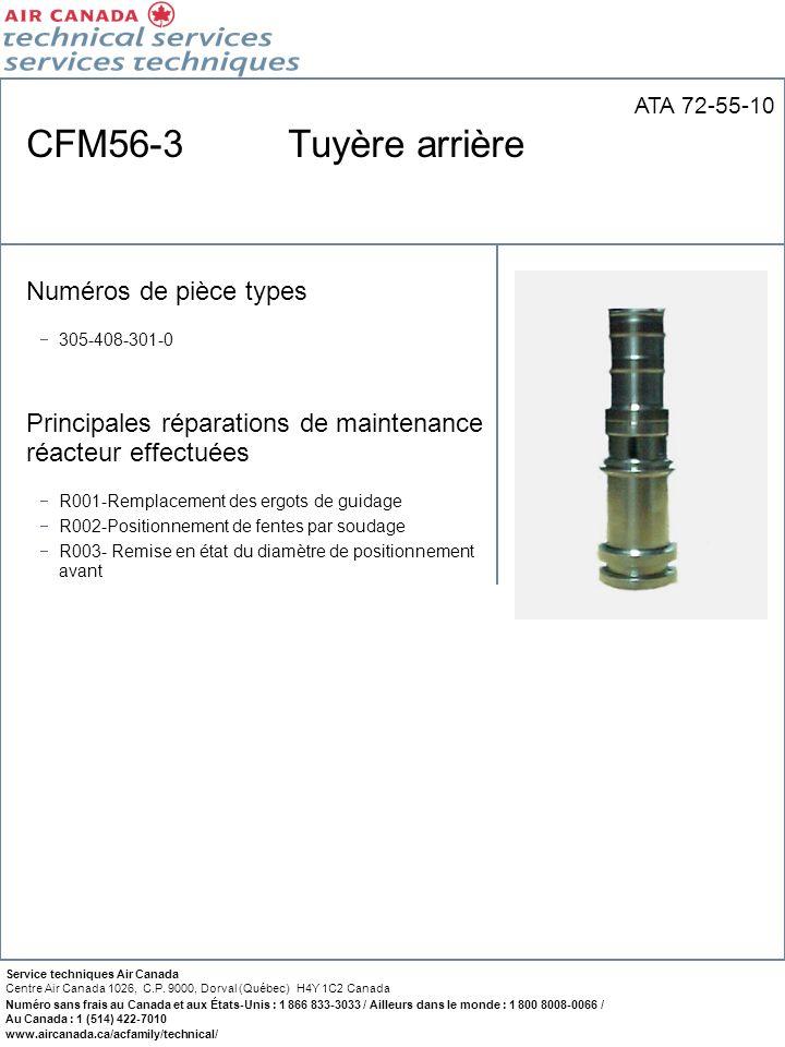 CFM56-3 Tuyère arrière Numéros de pièce types