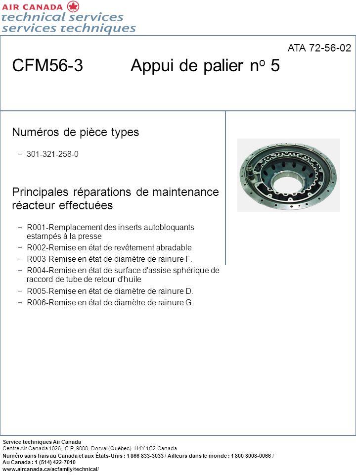 CFM56-3 Appui de palier no 5 Numéros de pièce types