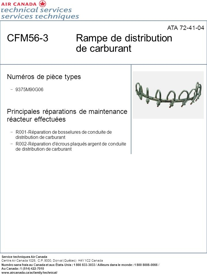 CFM56-3 Rampe de distribution de carburant