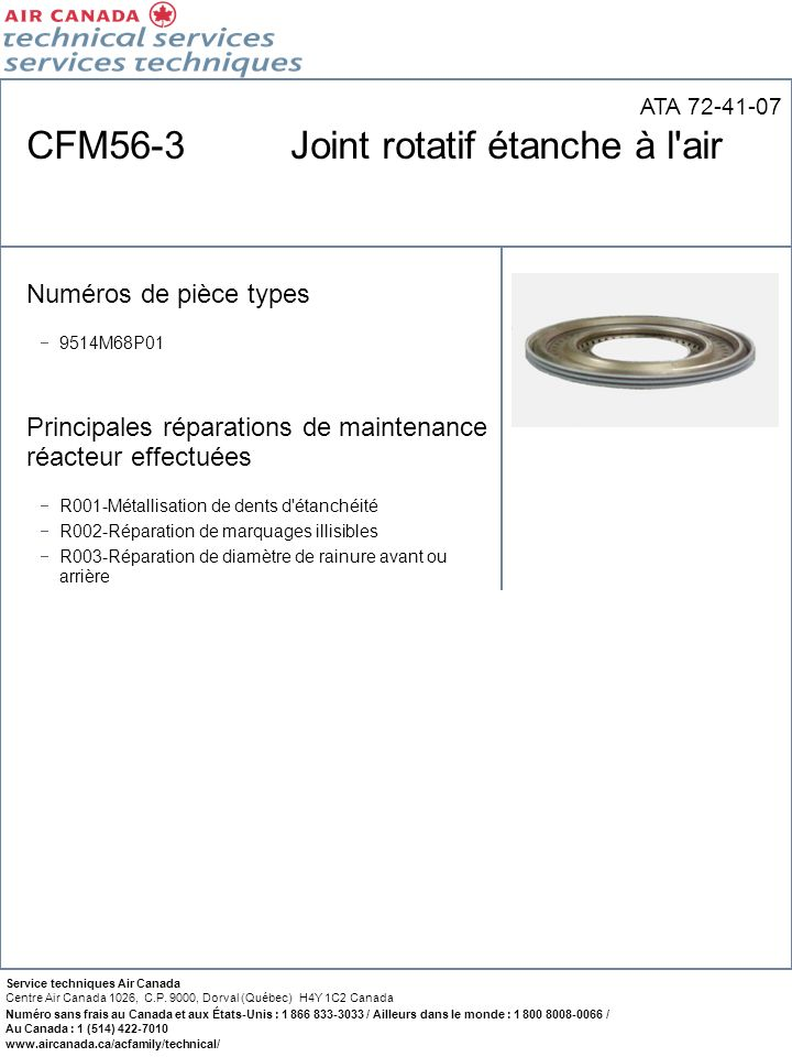 CFM56-3 Joint rotatif étanche à l air