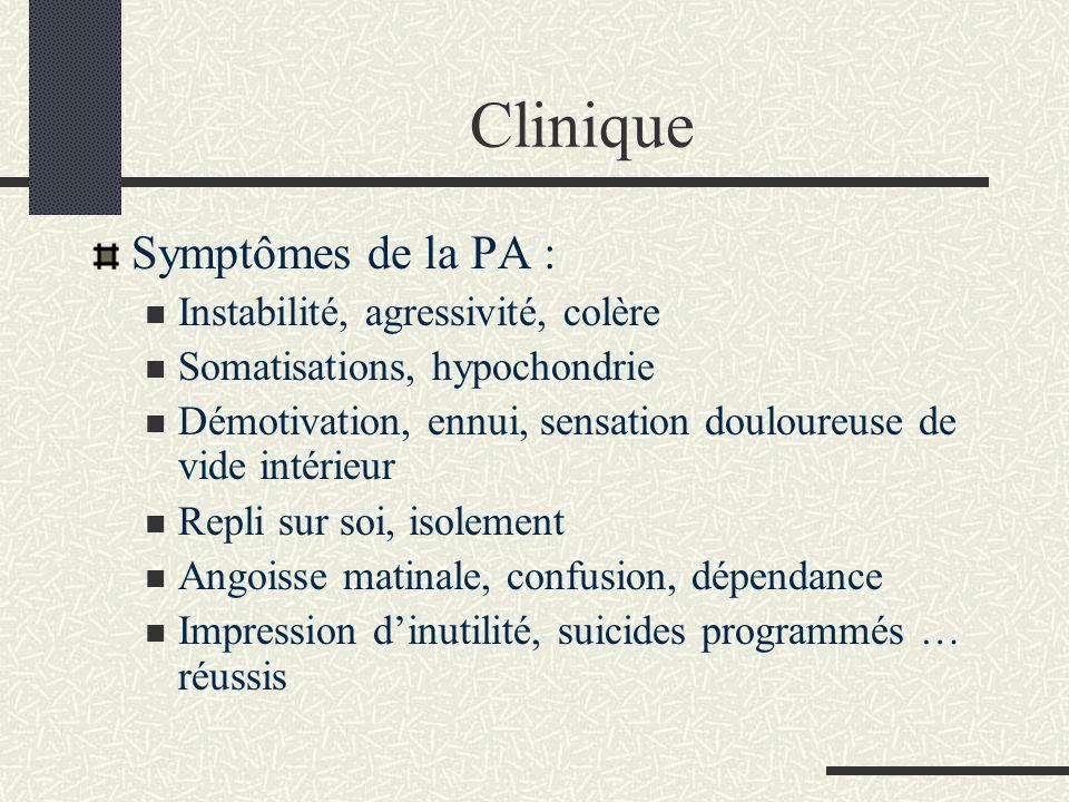 Clinique Symptômes de la PA : Instabilité, agressivité, colère
