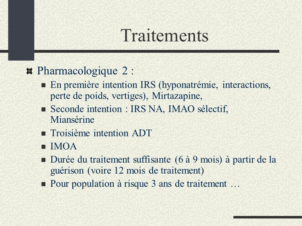 Traitements Pharmacologique 2 :