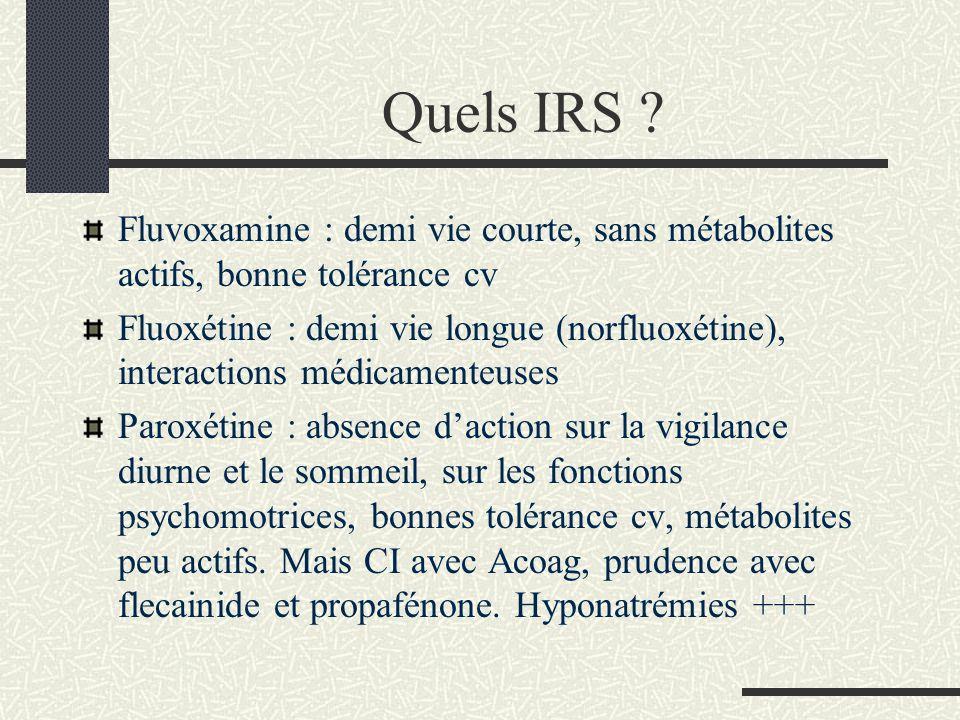 Quels IRS Fluvoxamine : demi vie courte, sans métabolites actifs, bonne tolérance cv.