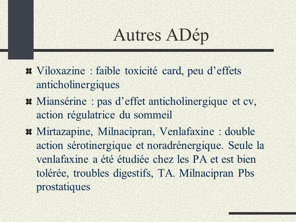 Autres ADép Viloxazine : faible toxicité card, peu d'effets anticholinergiques.