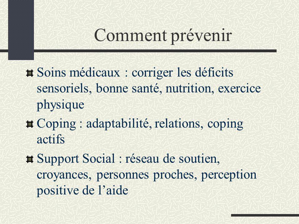 Comment prévenir Soins médicaux : corriger les déficits sensoriels, bonne santé, nutrition, exercice physique.