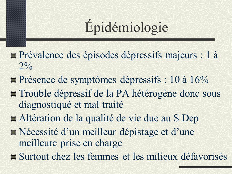 Épidémiologie Prévalence des épisodes dépressifs majeurs : 1 à 2%