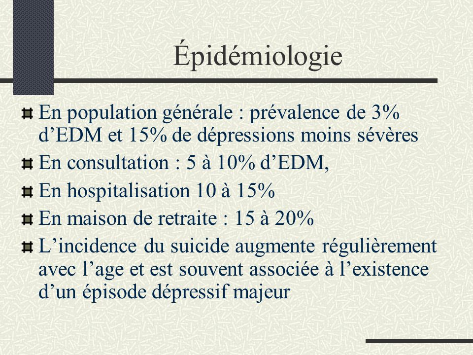 Épidémiologie En population générale : prévalence de 3% d'EDM et 15% de dépressions moins sévères. En consultation : 5 à 10% d'EDM,