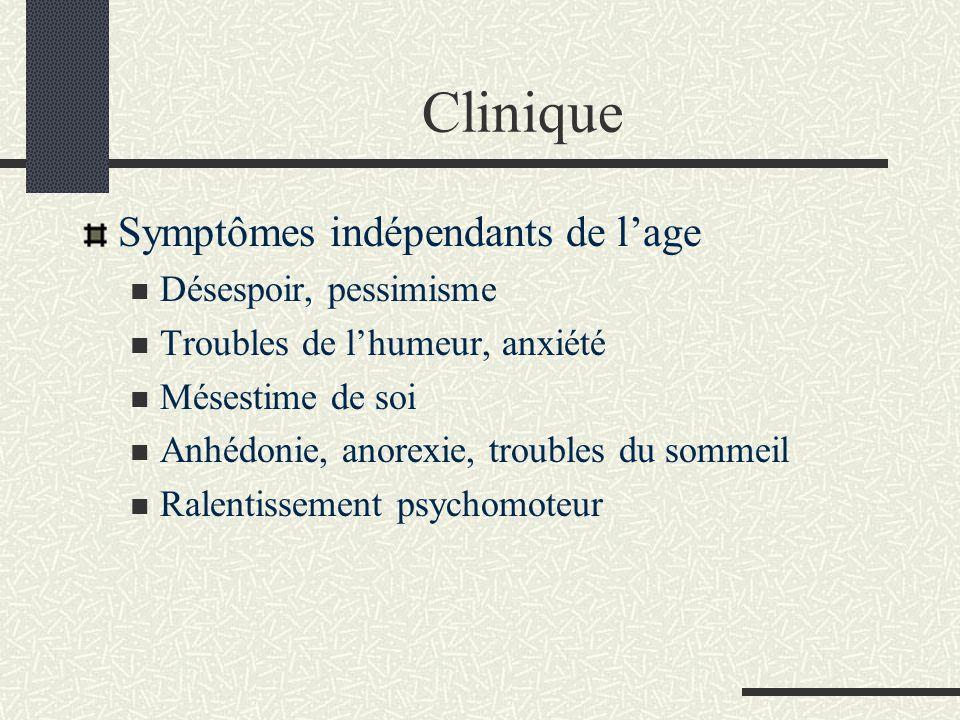 Clinique Symptômes indépendants de l'age Désespoir, pessimisme