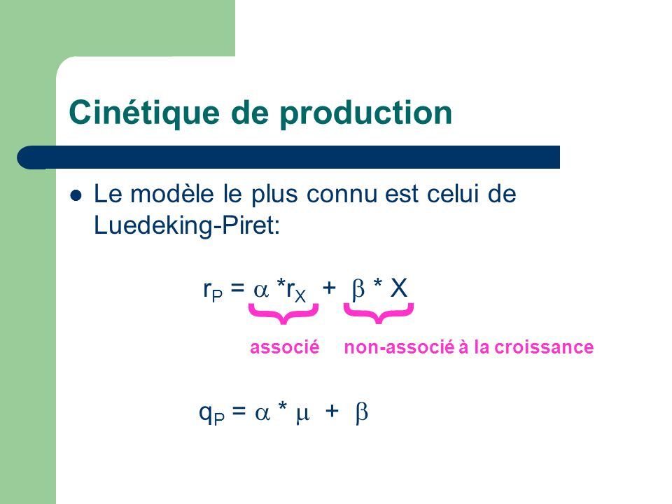 Cinétique de production