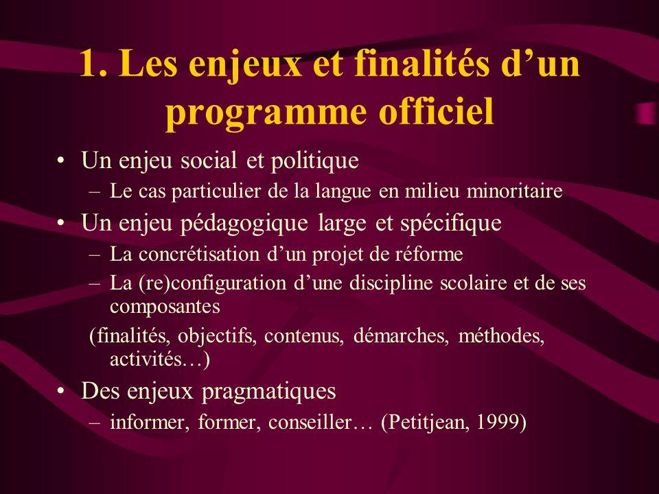 1. Les enjeux et finalités d'un programme officiel