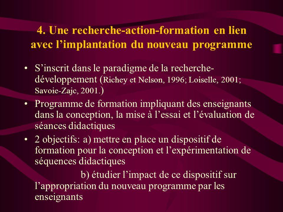 4. Une recherche-action-formation en lien avec l'implantation du nouveau programme