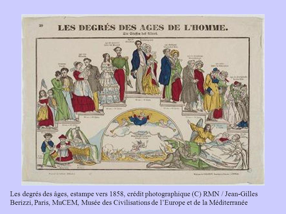 Les degrés des âges, estampe vers 1858, crédit photographique (C) RMN / Jean-Gilles Berizzi, Paris, MuCEM, Musée des Civilisations de l'Europe et de la Méditerranée