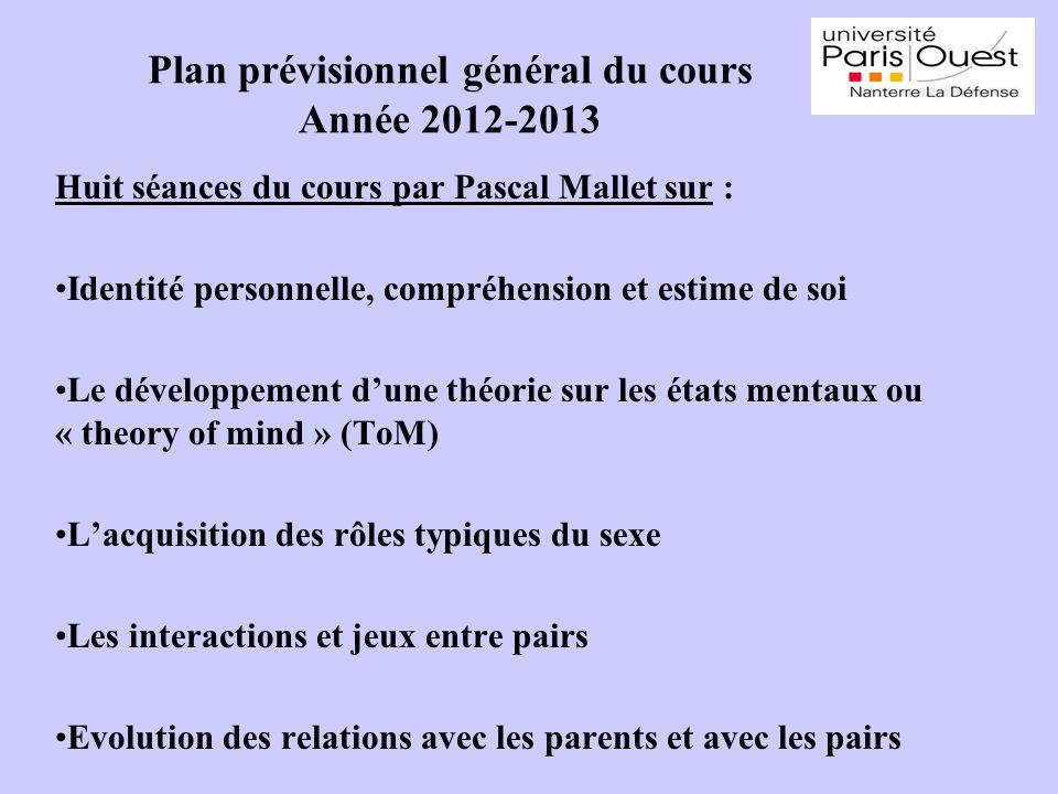 Plan prévisionnel général du cours Année 2012-2013