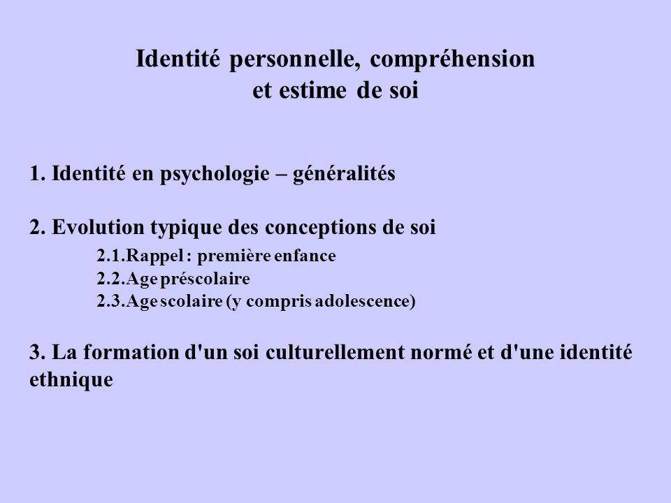 Identité personnelle, compréhension et estime de soi
